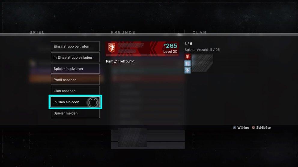 Inspiziert einen Spieler in Destiny 2, um ihn einzuladen.