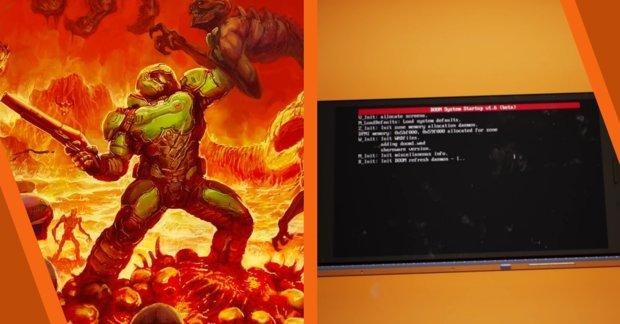 Doom auf einem virtuellen Handy in der Unreal Engine gespielt