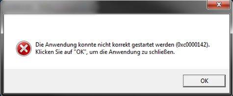 Der Windows-Fehler 0xc0000142