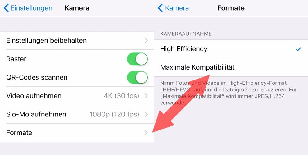 ios 11 iPhone HEIF HEVC deaktivieren