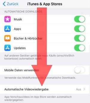 ios11 autoplay deaktivieren app store