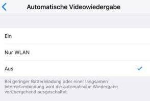 ios11 autoplay deaktivieren automatische videowiedergabe