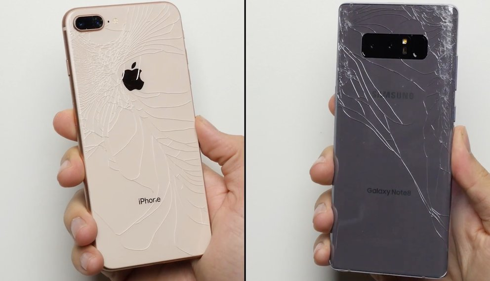 iPhone 8 Plus vs. Galaxy Note 8: So schnell zerbrechen die Glasgehäuse