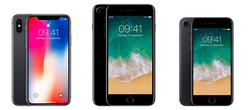 iPhone X, iPhone 7 Plus und iPhone 7 (von links).