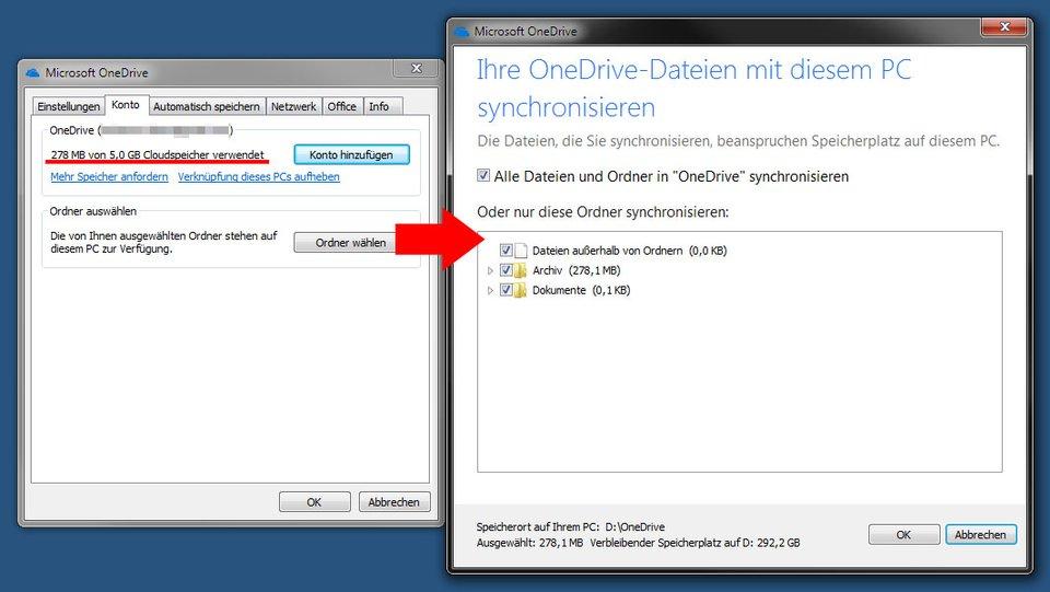 Hier prüft ihr Speicherplatz und ob ihr alle Dateien synchronisiert