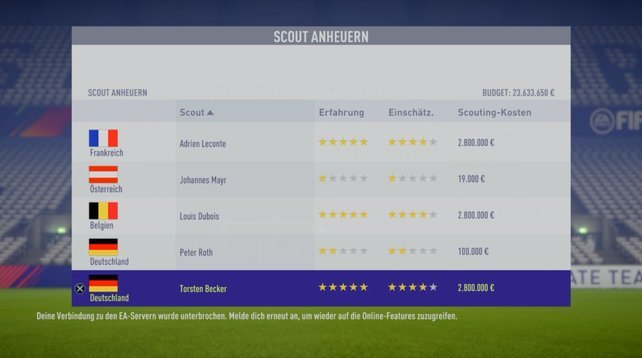FIFA 18 Scouting