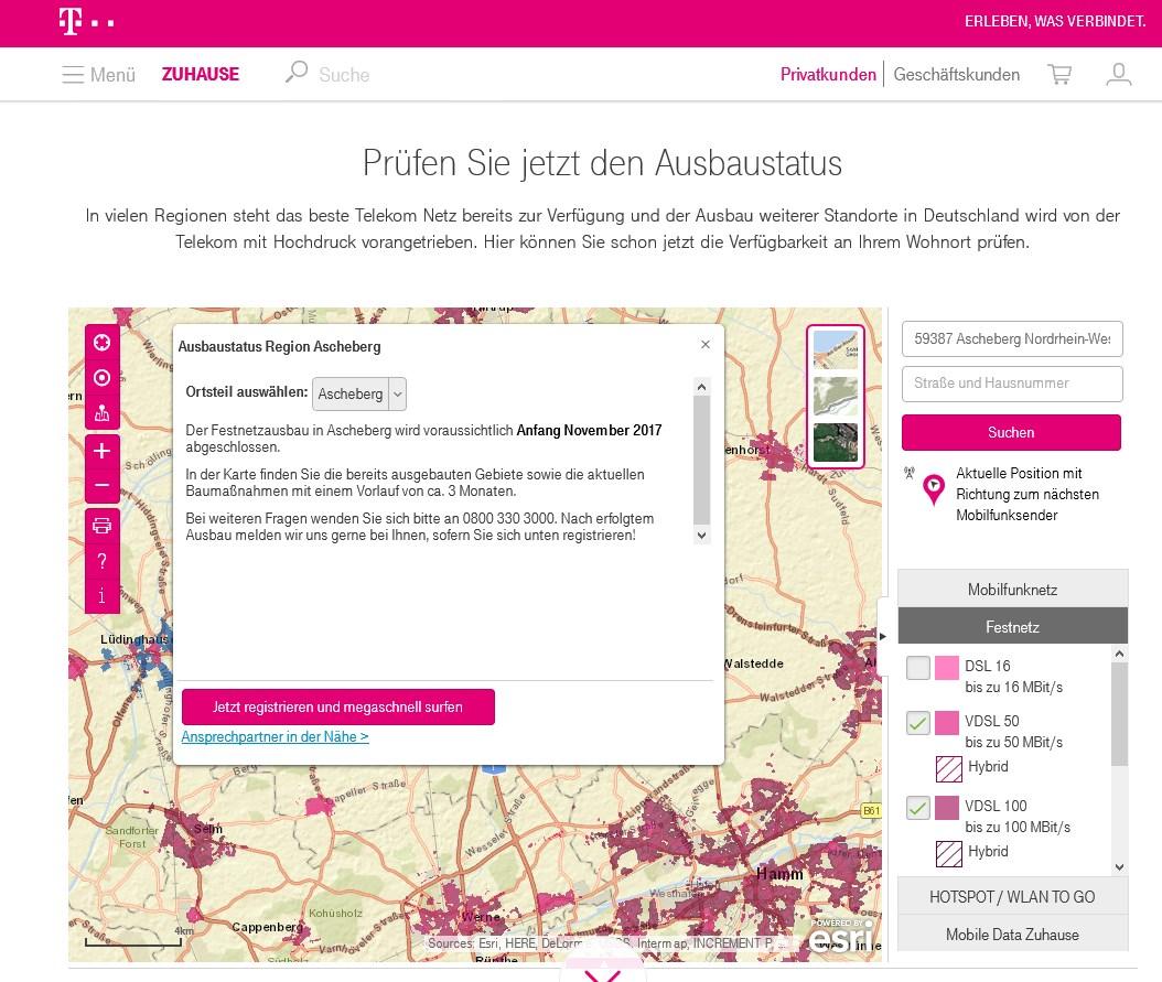 Telekom Dsl Verfügbarkeit Karte.T Online Verfügbarkeit Prüfen Dsl Vdsl Glasfaser Lte