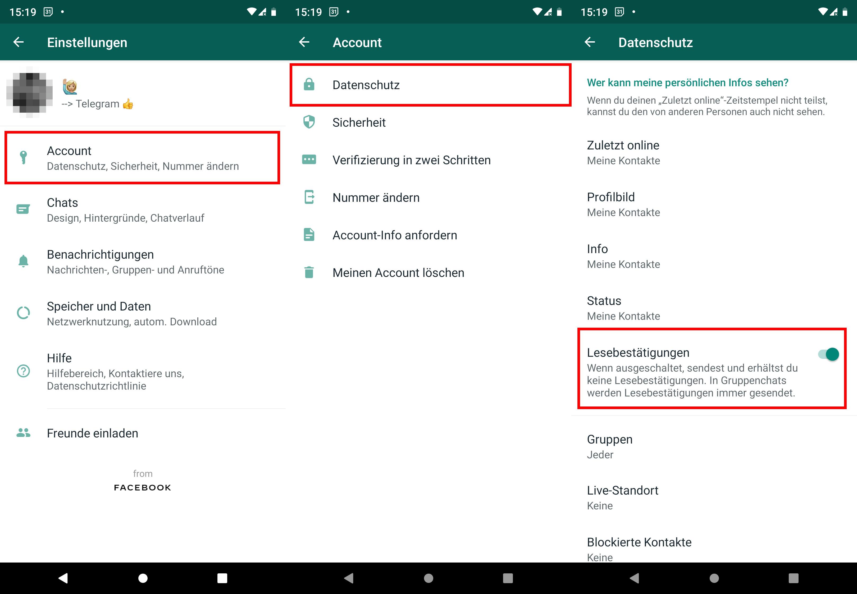 Whatsapp lesebestätigung nachträglich deaktivieren
