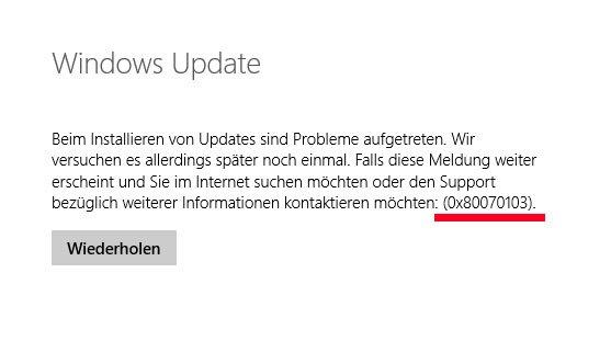 Lösung: Windows-Fehler 0x80070103