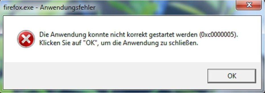 Windows kann die Anwendung nicht starten. Bildquelle: drwindows.de