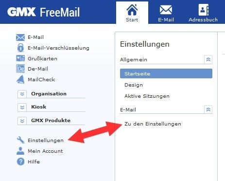 GMX IMAP POP3 aktivieren Einstellungen
