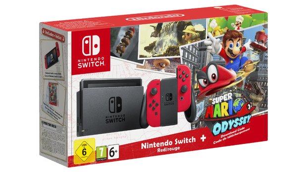 Nintendo Switch in Rot + Super Mario Odyssey im Bundle zum Knallerpreis