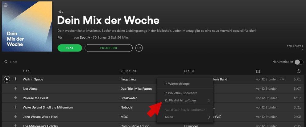 Spotify Dein Mix der Woche abspeichern