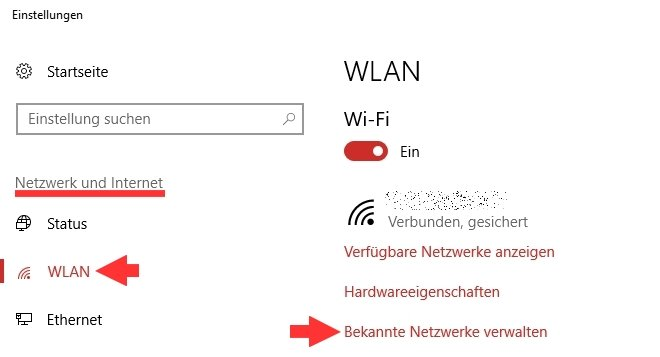 Windows 10 WLAN-Einstellungen