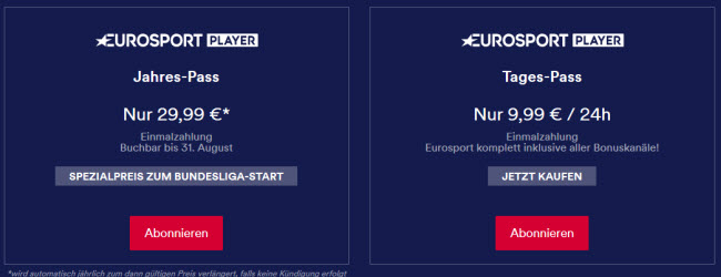Eurosport Player Tagespass