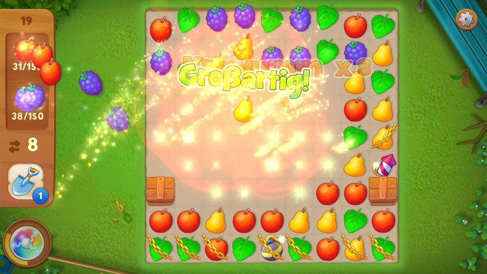 Verschmelzt ihr mehrere Früchte miteinander, erhaltet ihr Bomben, um schneller an euer Ziel zu kommen.