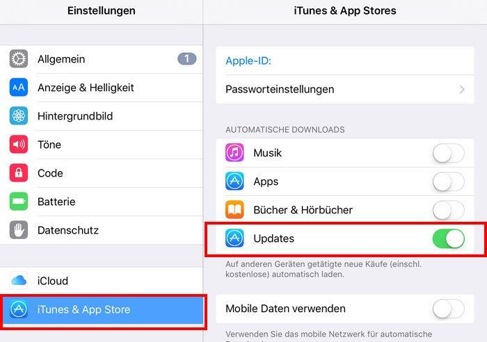 Hier deaktiviert ihr den iOS-Download. Bildquelle: iphone-ticker.de