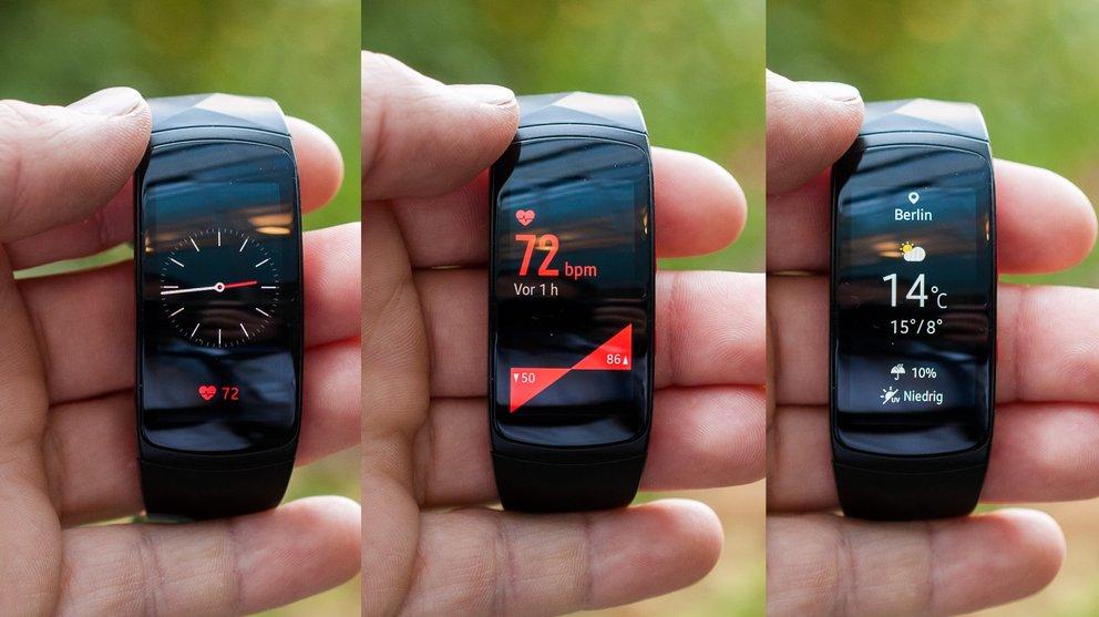 Verschiedene Watch-Designs, Pulsmessung, Wetter – Eigenschaften ähnlich einer Smartwatch, inklusive Display-Spiegelung.