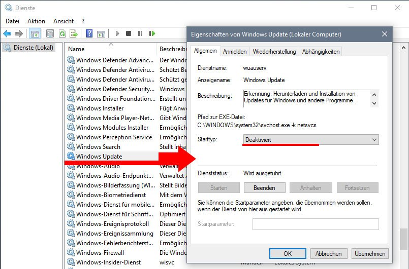 Deaktiviert hier den Windows-Update-Dienst