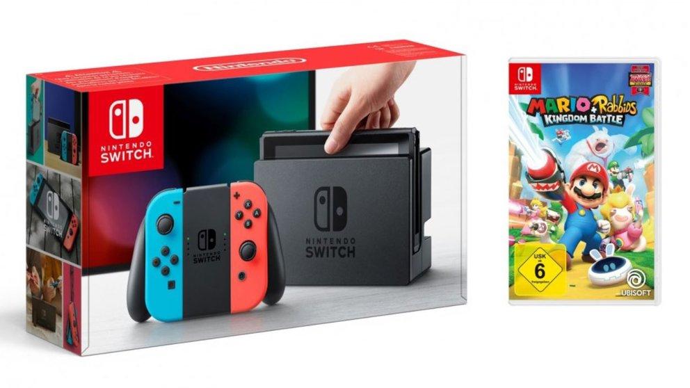 Nintendo Switch + Mario & Rabbids Kingdom Battle für 321 €