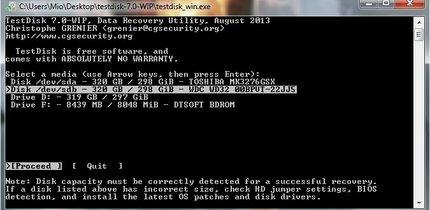 Mit TestDisk die SD-Karte wiederherstellen