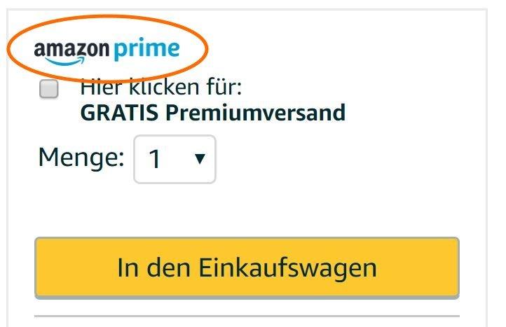Amazon-Prime-Artikel sind am Logo zu erkennen (Screenshot Amazon)