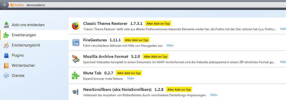 Firefox ESR funktioniert mit alten Addons