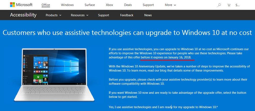 Microsoft gibt das Ende des kostenlosen Windows 10 an