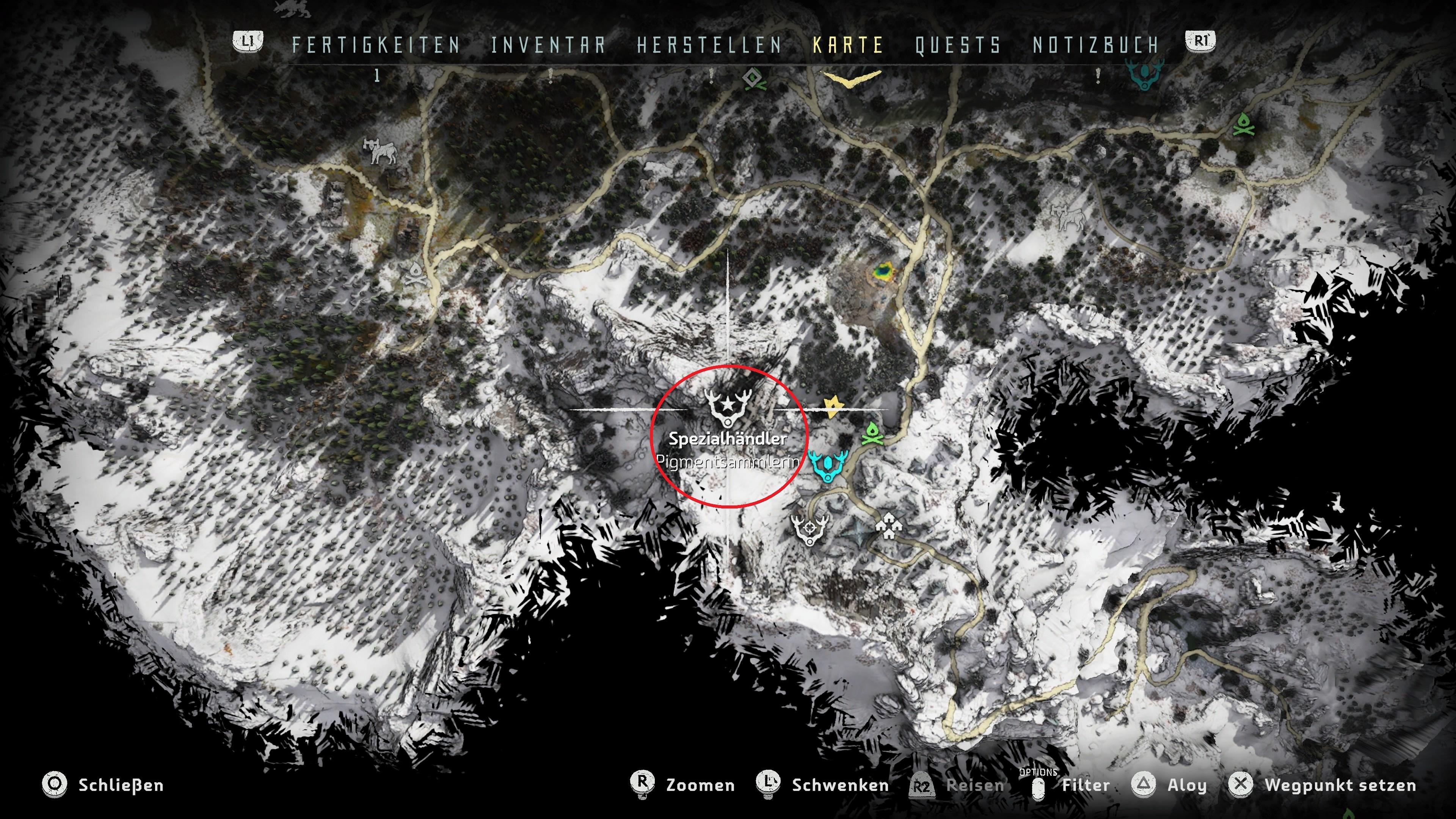 Horizon Zero Dawn Blauglanz Karte.Horizon Zero Dawn The Frozen Wilds Pigmente Fundorte Im Video