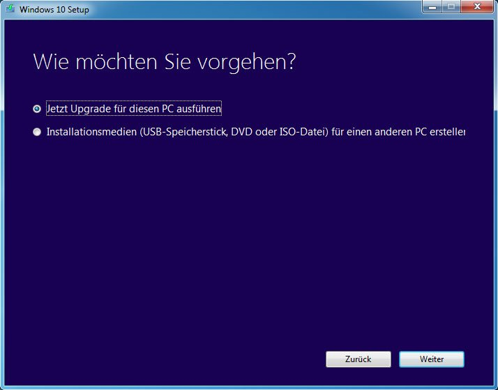 Das Media Creation Tool kann auch das Windows-10-Upgrade starten