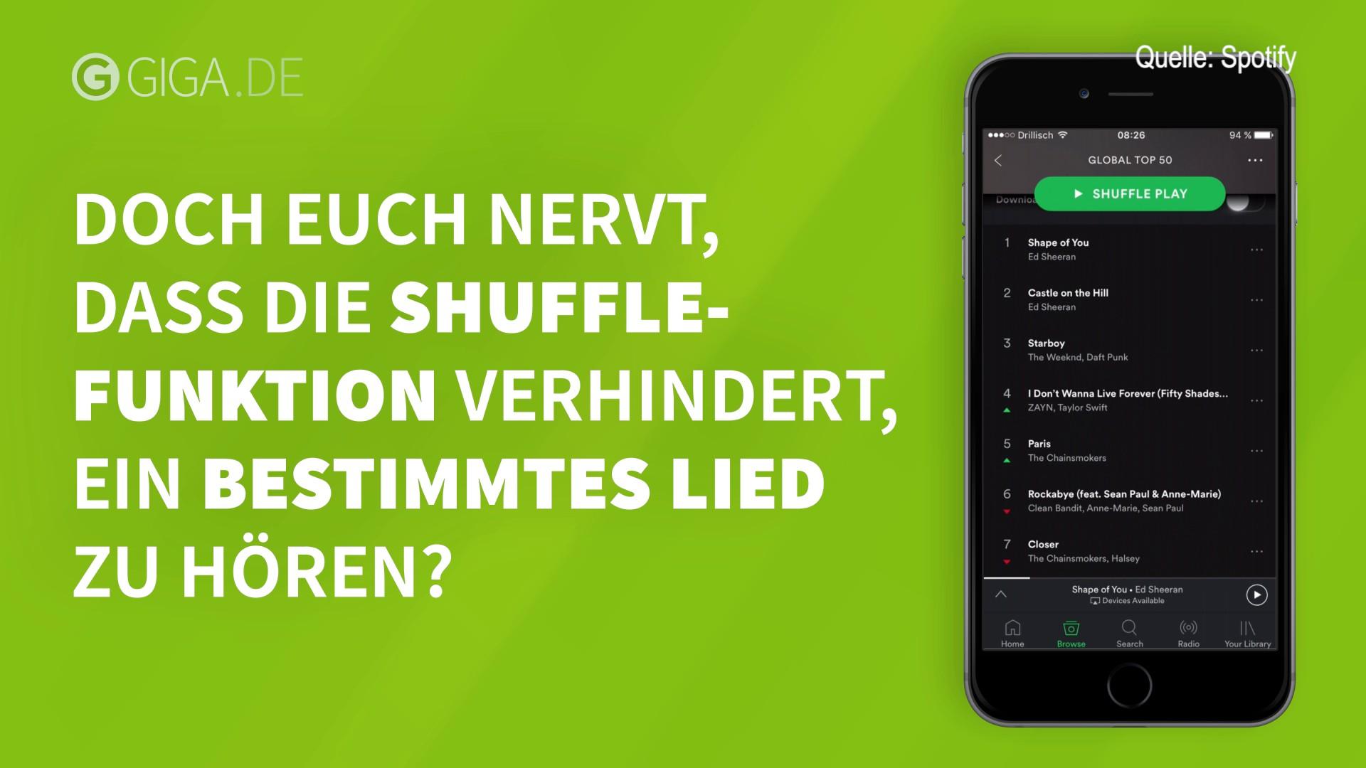shuffle ausschalten bei spotify