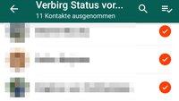 So versteckt ihr euren WhatsApp-Status für bestimmte Kontakte