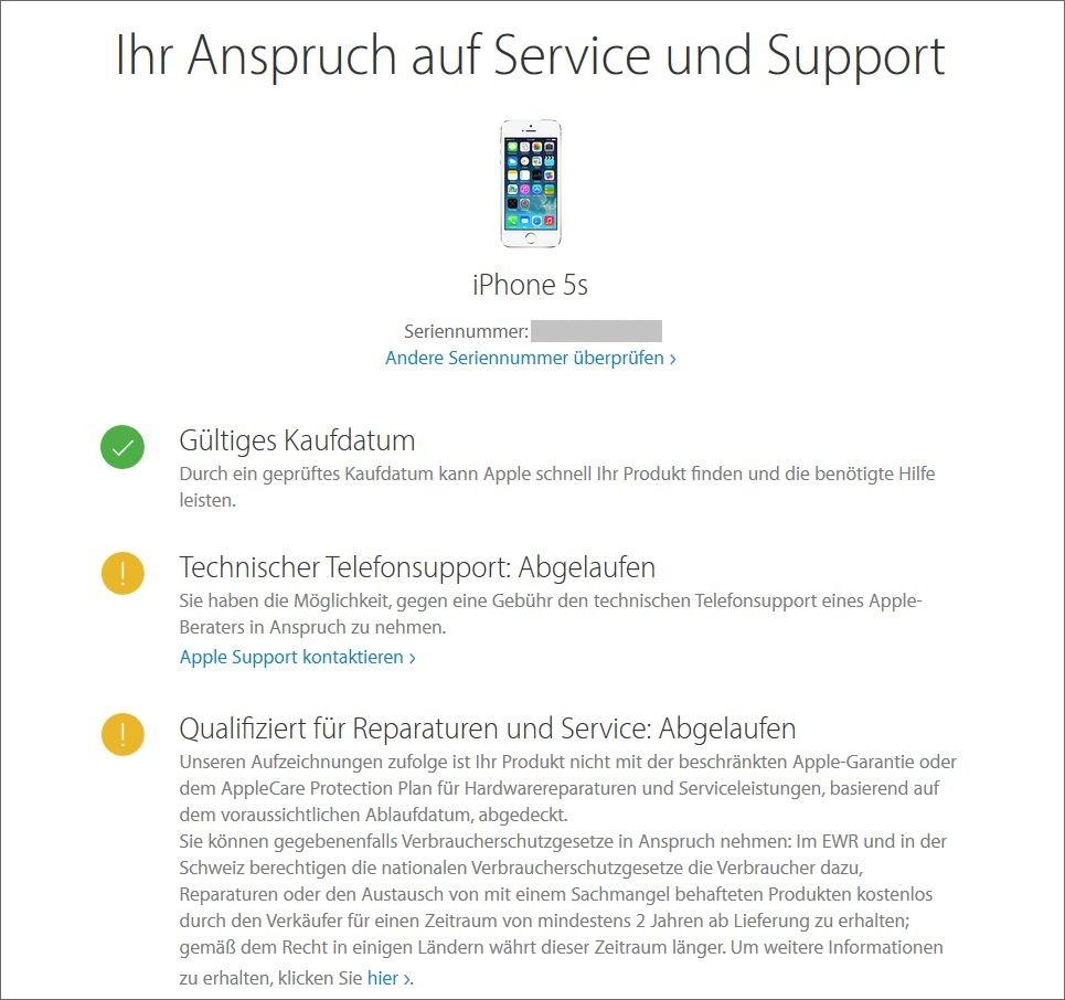 2. Apple-Garantie mit Seriennummer online prüfen