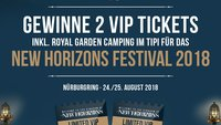 1x2 VIP Weekender Tickets + Royal Garden Tipi beim NEW HORIZONS Festival