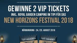 1x2 VIP Weekender Tickets + Royal Garden Tipi beim NEW HORIZONS Festival