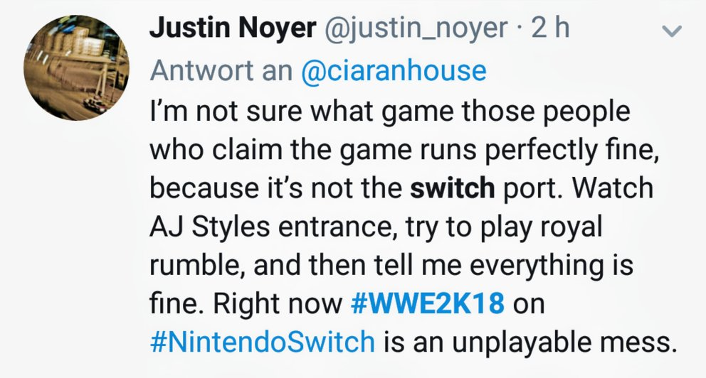 WWE 2K18 Switch unspielbar