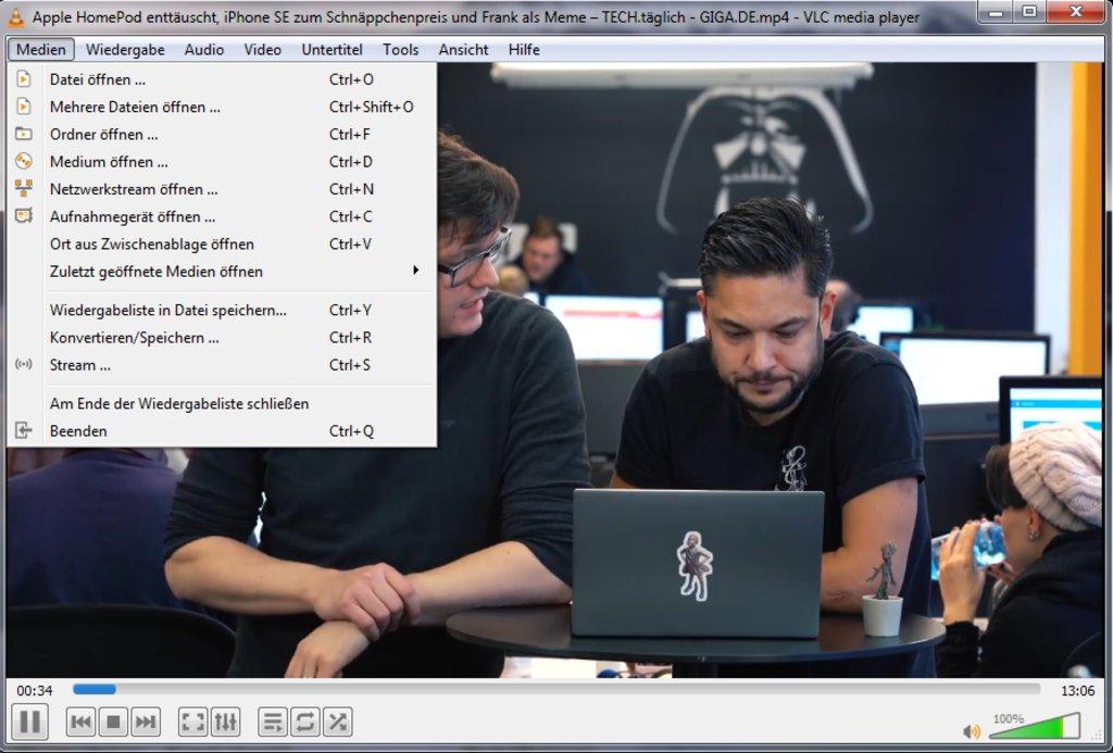 """Der """"VLC Media Player"""" spielt auch MTS-Dateien ab. Bild: GIGA"""