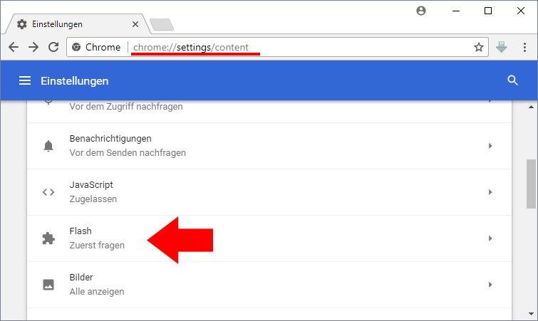 Hier findet ihr alle verfügbaren Flash-Optionen in Chrome