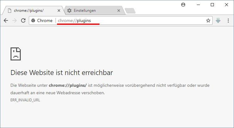 Die Plugin-Seite gibt es in Chrome nicht mehr