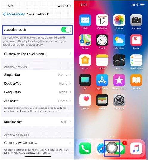 iPhone X: AssistiveTouch blendet einen virtuellen Home-Button ein. Bildquelle: blogs.systweak.com