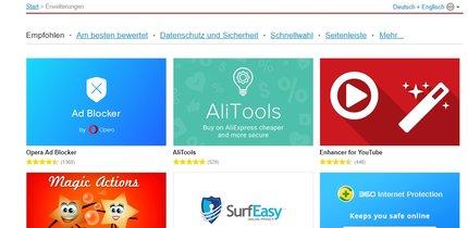 Opera-Add-ons installieren, verwalten und löschen