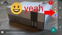 WhatsApp: Emoji, Smileys und Filter in Fotos einfügen