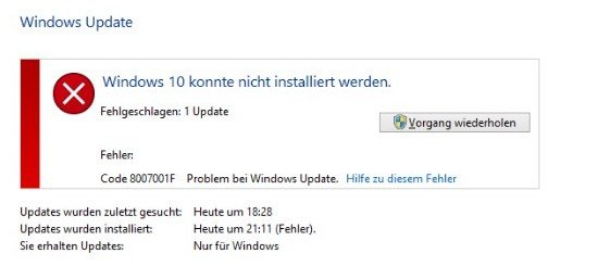 Lösung: 0x8007001F – Fehler bei Windows-10-Update