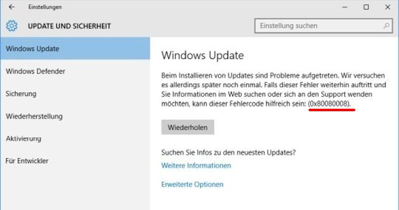 Lösung: 0x80080008-Fehler in Windows 10