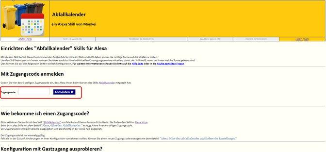 Alexa Abfallkalender Anmeldung