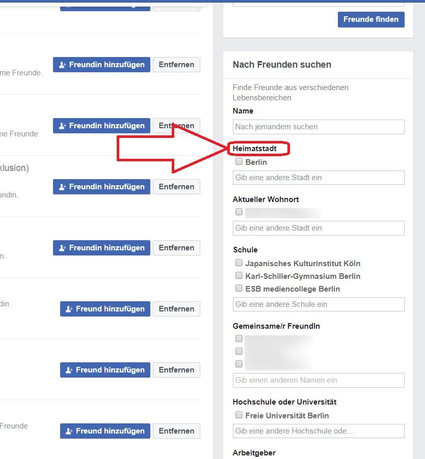 Detaillierte Facebook-Personensuche: Mit Filtern Bekannte