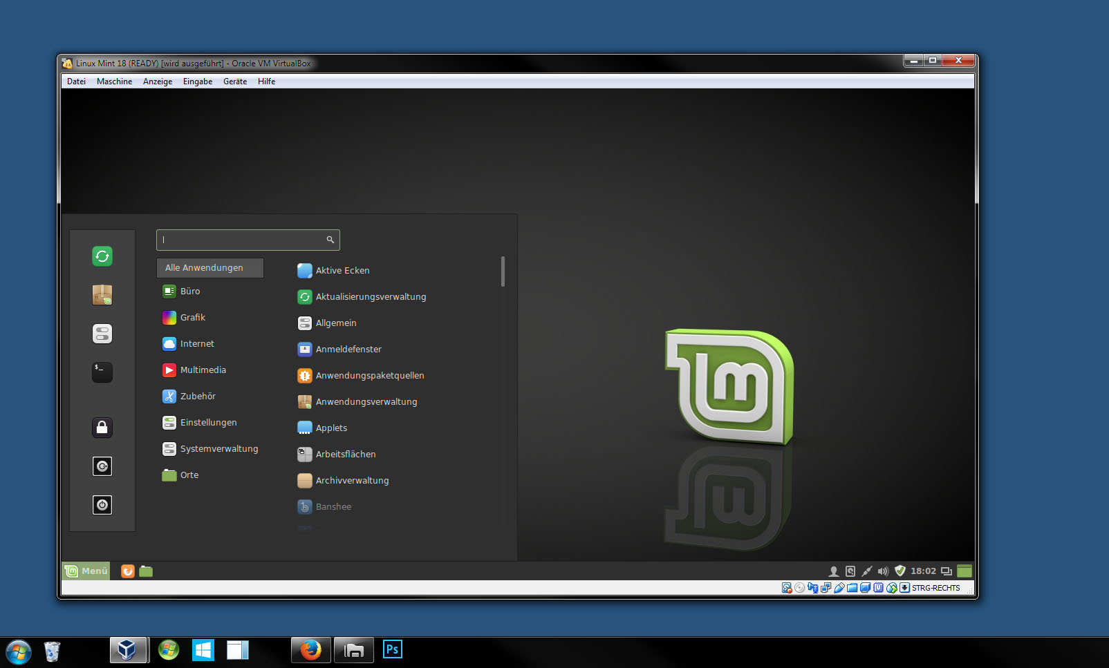 Linux Mint läuft in Windows 7 mit Virtualbox in einem Windows-Fenster.