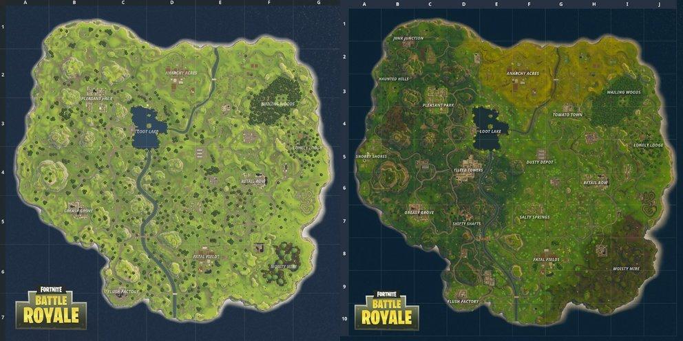 """Links ist die """"alte"""" Karte und rechts die überarbeite. (Quelle: Epic Games)"""