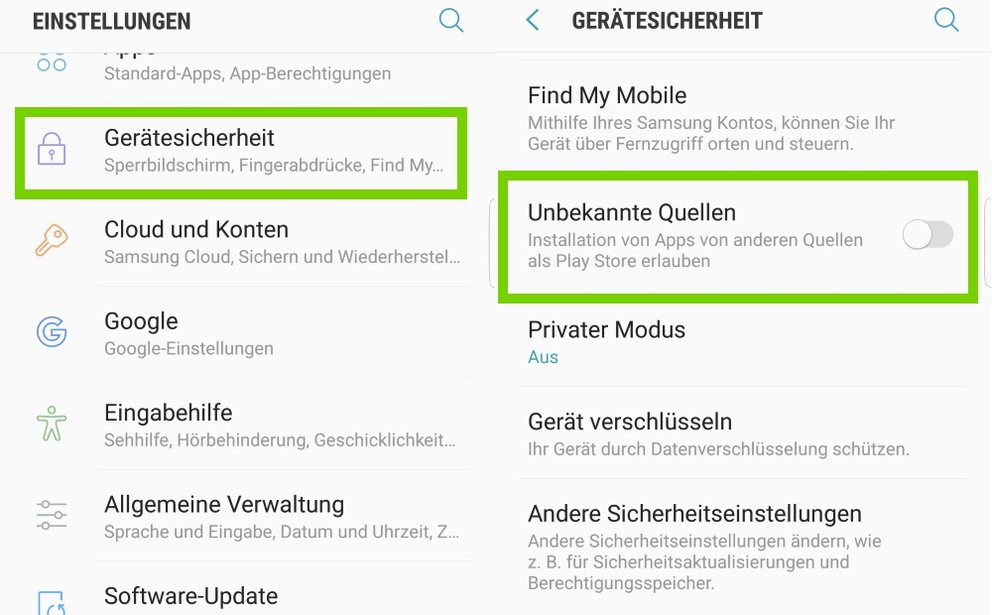 Auf unserem Testgerät Samsung S6 Edge aktiviert ihr unbekannte App folgendermaßen.