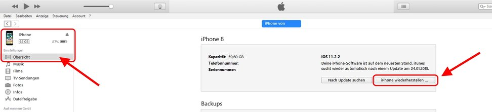 iTunes iPhone wiederherstellen